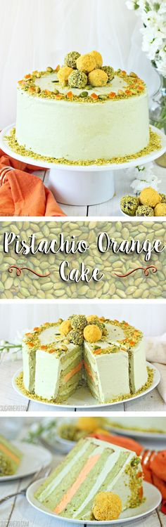 Pistachio Orange Cake - pistachio cake, pistachio & orange buttercream, and a beautiful pile of pistachio-orange truffles on top!