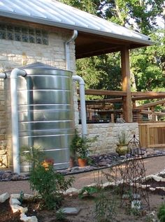 The next level in rain water catchment is a full-on cistern. This one is sharp, and it makes me thirsty for beer. If you do go with a cistern, make sure you really plan out and understand the system it requires.