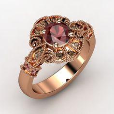 Round Red Garnet 14K Rose Gold Ring with Red Garnet & Smoky Quartz - lay_down