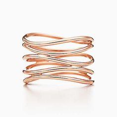 Elsa Peretti® Wave five-row ring in 18k rose gold.