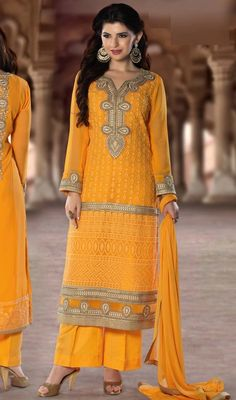 Surround yourself with endless compliments dressed in this yellow color embroidered georgette palazzo suit. The attractive lace and resham work a substantial feature of this dress. #newembroidereddresses #straightpalazzosuits #yellowreshamworksalwarkameez