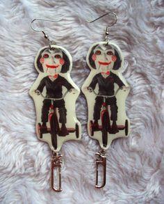 Saw Earrings Billy the Puppet Jigsaw horror by MirroredOpposites