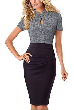 fcd68cab864 HOMEYEE Women s Short Sleeve Business Church Dress B430 at Amazon Women s  Clothing store