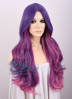 "31"" Long Curly Mixed Purple Ombre Fashion Synthetic Hair Wig TBZ961 - Wig Is Fashion"