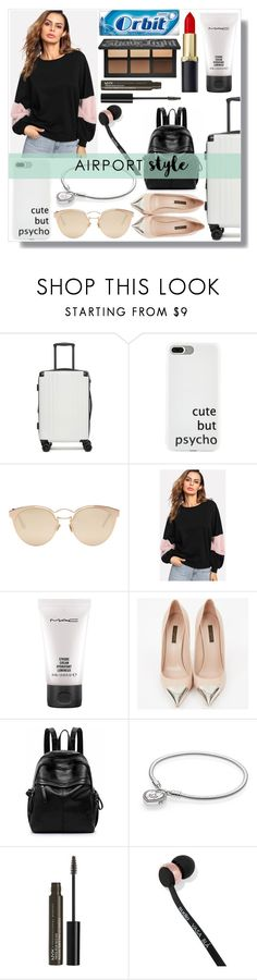 """Airport Style"" by fashionpolyvore112 on Polyvore featuring CalPak, Christian Dior, MAC Cosmetics, Louis Vuitton, Pandora, NYX, Sudio and airportstyle"
