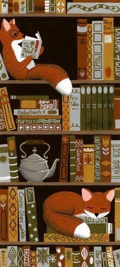 New Funny Illustration Art Graphic Designers Ideas Art And Illustration, Fuchs Illustration, Book Illustrations, Art Fox, I Love Books, Book Worms, Book Lovers, Illustrators, Iphone Wallpaper