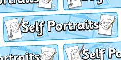 Twinkl Resources >> Self Portraits Display Banner  >> Thousands of printable primary teaching resources for EYFS, KS1, KS2 and beyond! self portrait, banner, all about me, banner, ourselves, drawing, portrait, banner, display,