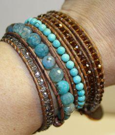 Turquoise & brown bead wrap bracelet  #bracelet, #turquoise, #blue