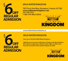 ATTRACTIONS ONTARIO - $6 Off at Wild Water Kingdom. Steve Pacheco Real Estate. More coupons: bit.ly/1hupagH Ontario Attractions, Wild Waters, Printable Coupons, Real Estate, Real Estates