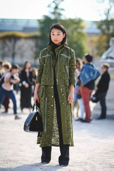 "The Best ""What IS She Wearing?"" Looks From Paris #refinery29  http://www.refinery29.com/2015/10/95202/paris-fashion-week-spring-2016-street-style-pictures#slide-6  Lace can have a tough-girl edge...."