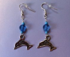 https://www.etsy.com/shop/MoggysMall  #dolphin, #earrings, #blue, #beads, #charm, #silver, #boho, #jewellery