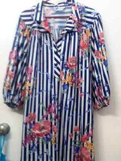Vintage Gorgeous White and Blue stripped Floral collar Tunic top/Dress Plus Size $15.00