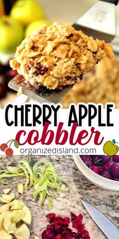 This Fresh Cherry Cobbler recipe is not made with cherry pie filling, this actually uses fresh apples and fresh cherries.So delicious and easy to make.#cherry #apple #cobbler #fruit #dessert