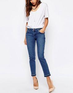 ASOS | ASOS Kimmi Shrunken Boyfriend Jeans With Let Down Hem in Mid Wash Blue