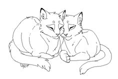 Feline Couple Lineart by Warrioratheart on DeviantArt Warrior Cat Drawings, Warrior Cats Art, Cat Coloring Page, Animal Coloring Pages, Dragon Prince Season 3, Warrior Cat Memes, Cat Oc, Cartoon Wolf, Wolf Sketch