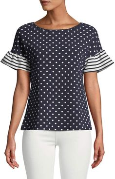Shop Striped-Flutter Sleeve Polka-Dot Blouse from Casual Couture at Neiman Marcus Last Call, where you'll save as much as on designer fashions. Casual Couture, Polka Dot Blouse, Polka Dots, Summer Blouses, Clothes Crafts, Dressy Tops, Blouse Outfit, Casual Street Style, Fashion Over 50