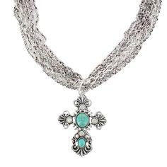 Shyanne Women's Multi Chain Cross Neclace turquoise silver $19.99