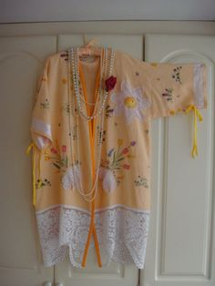 Stunning Vintage Linen Hand Embroidered Tulip Peach and Pink Doily Crochet Duster Car Coat