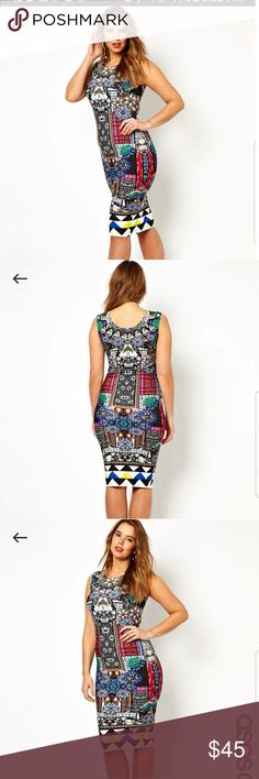 Jewel Print Bodycon Dress Asos Curve Bodycon Jewel Print Dress.  Has stretch and can fit size 18. Brand new.  Never worn. ASOS Curve Dresses Midi