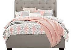 Alison Gray 3 Pc King Upholstered Bed  - Beds Colors