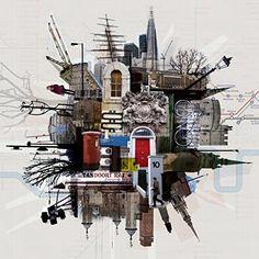 Jon Measures Could inspire collage or photoshop work City Collage, Collage Art, Collages, Creative Landscape, Urban Landscape, Photomontage, Academic Drawing, Art Alevel, Urbane Kunst