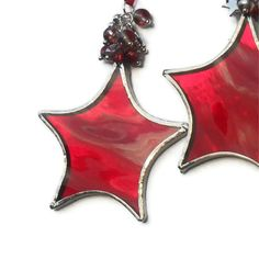 Red Stained Glass Star Christmas Decoration, Red Christmas Tree Decoration £7.00