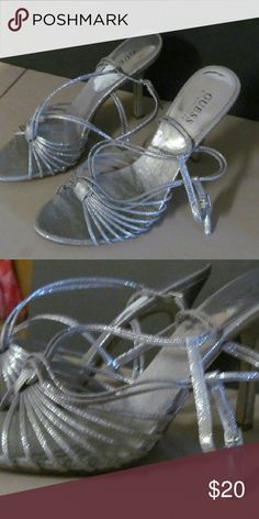 Guess,silver,strappy heels,new Unworn,silver heels,strappy,guess Guess Shoes Heels