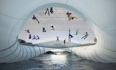 """French architecture firm Atelier Zundel Cristea puts the """"fun"""" in """"function"""" by creating this trampoline bridge across the Seine River in Paris. Trampolines, Pont Paris, Paris 3, Paris France, Innovation Design, Business Innovation, Design Studio Names, The Places Youll Go, Places To See"""