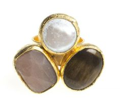 24K Yellow Gold Plated Mother of Pearl Pink Chalcedony Tiger Eye Natural Three Stone Adjustable Ring Modern Curated Collection,http://www.amazon.com/dp/B00JHM2SWA/ref=cm_sw_r_pi_dp_GbxEtb0ZBGA7N882 #Handmade #Jewelry #Vintage #Antique #Design #Gemstone #Natural #Stone #Adjustable #Ring #ChicBahar