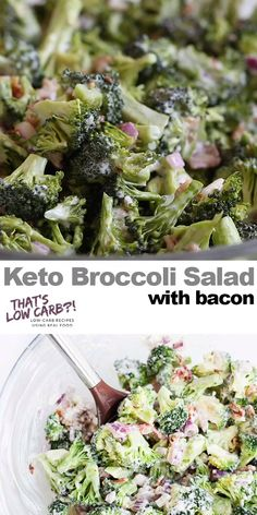 Keto Broccoli Salad with BACON! Packed full of flavor and with minimal ingredients this salad is a sure winner! Keto Broccoli Salads for lunch and dinner! Not a bad dish to make for potlucks either. if it can last till then. We devour this! Salad Recipes Low Carb, Diet Recipes, Healthy Recipes, Recipes Dinner, Lunch Recipes, Healthy Foods, Low Calorie Salad, Ham Recipes, Healthy Salads