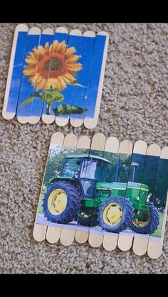 Use own photos, cut and stick onto paddle pop sticks to create mini puzzles
