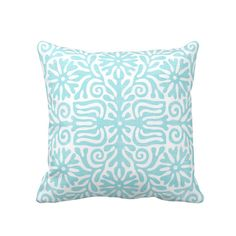 Light Blue Decorative Pillow Cover Navy Dot 18x18 20x20 22x22 or