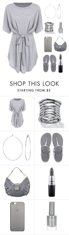 """""""monochrome grey"""" by im-karla-with-a-k ❤ liked on Polyvore featuring Palm Beach Jewelry, Phyllis + Rosie, Havaianas, Just Cavalli, MAC Cosmetics, Native Union and New Look"""