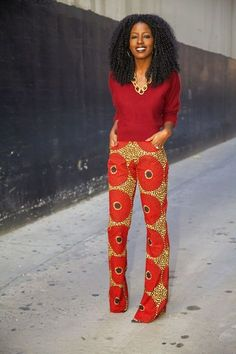 African Print Trousers, luv the outfit. African Inspired Fashion, African Print Fashion, Africa Fashion, Fashion Prints, African Prints, African Print Pants, Modern African Fashion, African Attire, African Wear