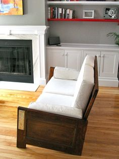Using 2 old doors, around $50,  and a few days work, you too can have this super chic sofa.