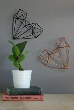 diy wall art: geometric hearts