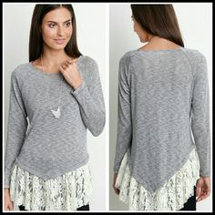 *Beautiful Heather and Grey lace Tunic Size S M L Beautiful and soft Grey and lace Tunic Size S,  M,  &  L Material is 60% cotton 40% polyester  No trade   Please indicate your size  PRICE FIRM UNLESS BUNDLED Boutique  Tops Tunics