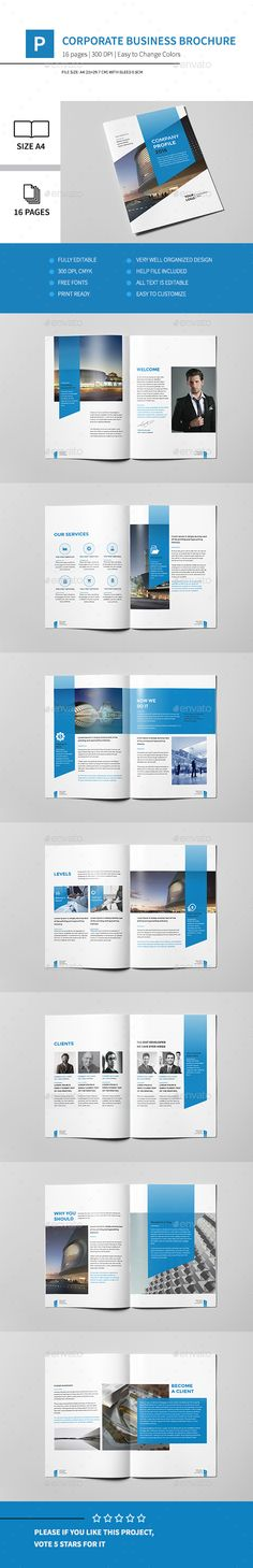 Corporate Business Brochure 16 Pages A4 Template InDesign INDD #design Download: http://graphicriver.net/item/corporate-business-brochure-16-pages-a4/14539762?ref=ksioks