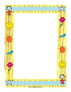 This childrens' border features childlike drawings of items from the life of a kid, including the sun, a flower, a favorite pet cat, and more. Free to download and print.