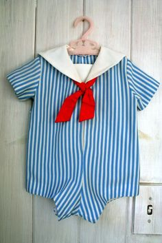 vintage baby striped SAILOR romper