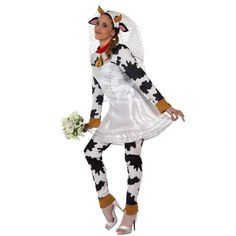 Deguisement fiancée futur mariée vache idéal pour un enterrement de vie de jeune fille Marie, Costumes, Blouse, Long Sleeve, Sleeves, Fashion, Bridal Shower, Young Living, Wedding Bride