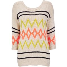 Stone Aztec Print Sweater (30.855 CLP) ❤ liked on Polyvore featuring tops, sweaters, shirts, jumpers, stone, pink aztec sweater, aztec tribal sweater, aztec sweater, pink sweater and pink top