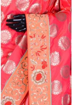 Pure Handloom Silk Embroidery-Red,Pink Dual Tone-WH1101
