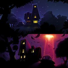 #illustration #night #house