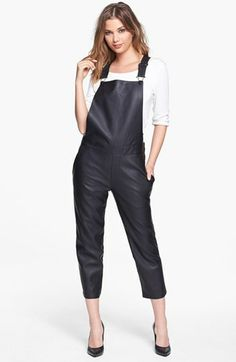 Piper Crop Faux Leather Overalls available at #Nordstrom