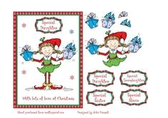Christmas card with cute elf carrying gifts with decoupage on Craftsuprint - View Now!