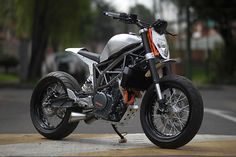 Colombia's Garaje 57 is growing an impressive reputation for hand crafted machines that have been ordered by clients from around the world. But with the new KTM 390 Duke landing on their shor… Motorcycle Design, Bike Design, Motorcycle Bike, Custom Motorcycles, Custom Bikes, Scrambler Custom, Ktm 390 Duke, Ktm 200, New Ktm