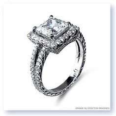 Shop online MARK SILVERSTEIN 2033-18W-7SQ-E Halo 18K - White Gold Diamond Engagement Ring at Arthur's Jewelers. Free Shipping