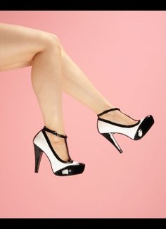 T-Strap Spectator Pump in Black and White  .... Love t-straps. Sooo comfortable!