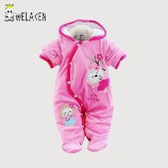 [ 25% OFF ] New 2017 Baby Romper Winter Thick Warm Hooded Infant Jumpsuit One-Pieces Cute Cartoon Parttern Toddler Romper